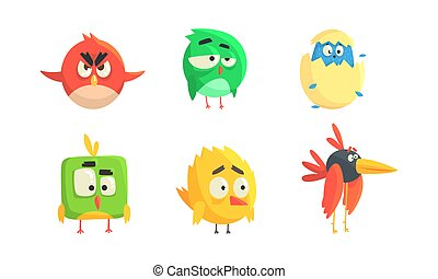 Set of Cute Funny Birds, Colorful Little Birdies with Funny Faces Cartoon Vector Illustration