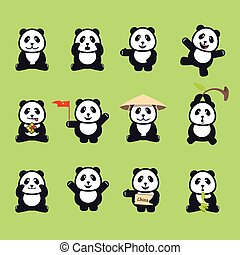 set of cute funny cartoon pandas. Vector illustration