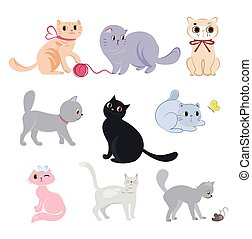 Set of cute funny cats