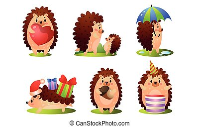 Set of cute funny forest hedgehog in different situations. Vector illustration in flat cartoon style.