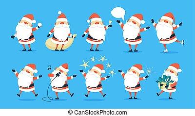 Set of cute funny Santa Claus celebrating Christmas