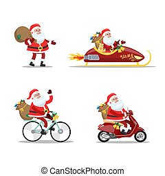 Set of cute funny Santa Claus