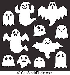 set of cute ghost creation kit, changeable face, flat design vector for halloween