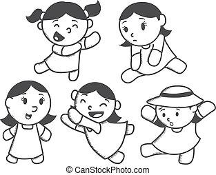 set of cute girl cartoon