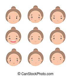 Set of cute girl different emotions.