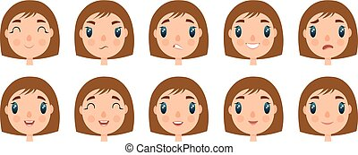 Set of cute girl faces for you design. Flat and cartoon style. White background. Vector illustration.