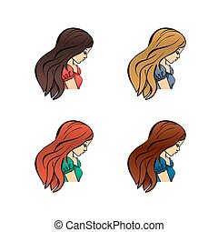Set of cute girls with different color hand drawn outline style design vector illustration isolated Cartoon flat icons