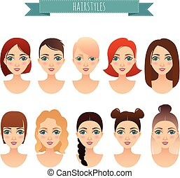 set of cute girls with different hairstyles