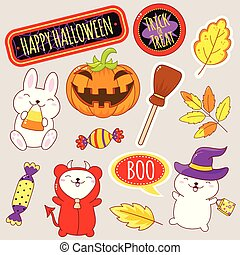 Set of cute Halloween icons in kawaii style