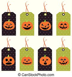 Set of cute Halloween pumpkins tags. Vector hand drawn illustration.