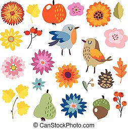 Set of cute hand-drawn autumn, fall elements. Birds and...