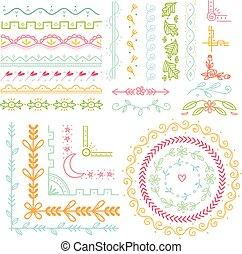 Set of cute hand drawn border