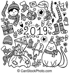 Set of cute hand-drawn Christmas, New Year and winter elements