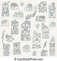 Set of cute hand drawn houses. Vector illustration.