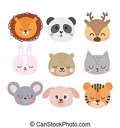 Set of cute hand drawn smiling animals. Cat, bunny, lion, panda, tiger, dog, deer, mouse and bear. Cartoon zoo