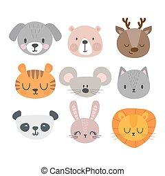 Set of cute hand drawn smiling animals. Cat, deer, panda, tiger, dog, lion, bunny, mouse and bear. Cartoon zoo
