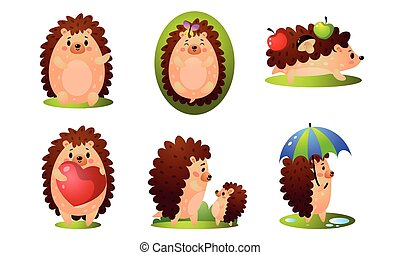 Set of cute happy forest hedgehog in different situations. Vector illustration in flat cartoon style.