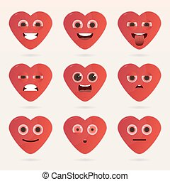 Set of cute heart emoticons.