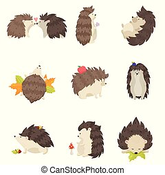 Set of cute hedgehogs in different poses and various emotions on a white background. Hedgehogs kiss, stand, sleep, lie, go, wallow. Hedgehogs with flower, blueberry, mushrooms, apples, leaves, acorns