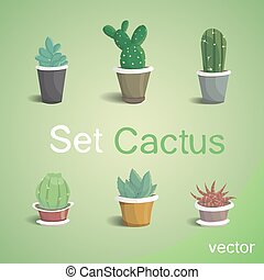 Set of cute house cactus vector illustration