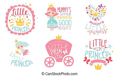 Set of cute inscriptions for moms princess. Vector illustration on a white background.
