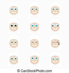 Set of cute judge emoticons.