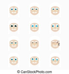 Set of cute judge emoticons.
