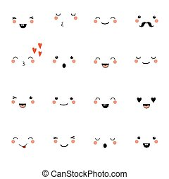 Set of cute kawaii style emotions.