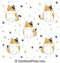Set of cute kitten cartoon on white background, vector illustration