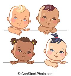 Set of cute little baby girls - Smiling cartoon baby girls. ...