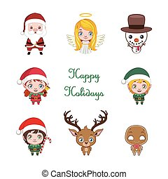Set of cute little cartoon Christmas characters