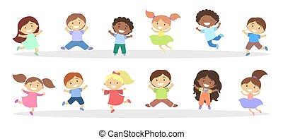 Set of cute little jumping kids