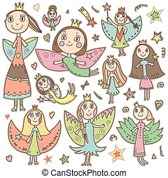 Set of cute lovely fairies in children drawing style.