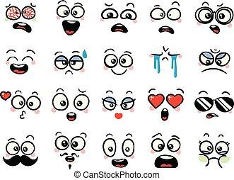 Set of cute lovely kawaii emoticon. Doodle cartoon face in childlike manga cartoon style.