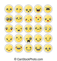 Set of cute lovely kawaii emoticon. Sticker collection.