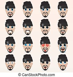 Set of cute man in a hat emoticons.