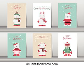 Set of cute Merry christmas