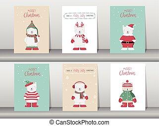 Set of cute Merry christmas