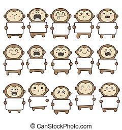 Set of cute monkey holding a billboard design. Vector illustration.