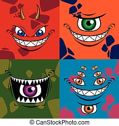 Set of cute monsters