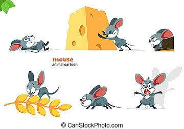 Set of cute mouse character with different action poses, isolated on white background