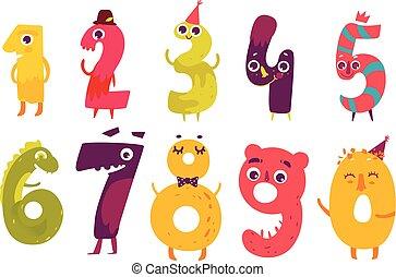 Set of cute number characters, math symbols