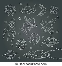 set of cute outer space elements, astronaut, planets, rockets. chalk lines