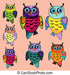 Set of Cute Owl, cartoon drawing, cute illustration for children, vector illustrations (hipster symbol series)
