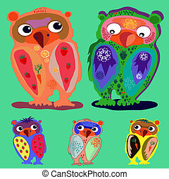 Set of Cute Owl (on a green background), cartoon drawing, cute illustration for children, vector illustrations  (a series of popular hipster-characters)