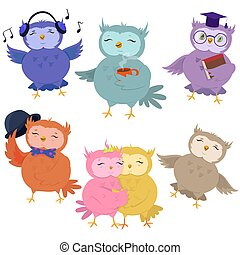 Set of cute owls isolated on white background. Vector illustration.