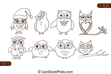 Set of cute owls. Vector cartoon owls and owlets birds isolated on white background.
