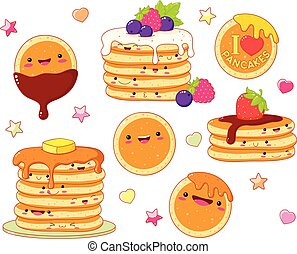 Set of cute pancake icons in kawaii style