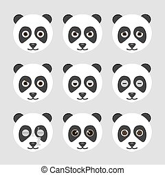 Set of cute panda emoticons.