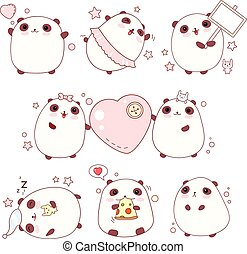 Set of cute pandas in kawaii style